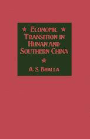 Economic Transition in Hunan and Southern China