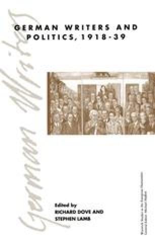 German Writers and Politics 1918–39