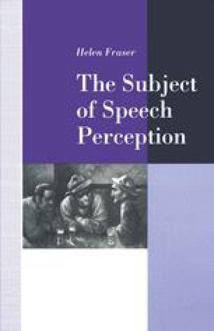 The Subject of Speech Perception