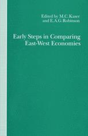 Early Steps in Comparing East-West Economies