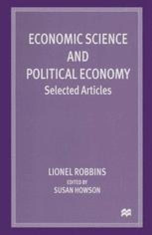 Economic Science and Political Economy