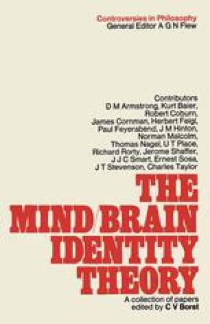 The Mind-Brain Identity Theory