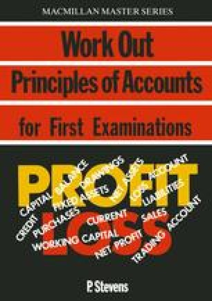 Work Out Principles of Accounts for First Examinations