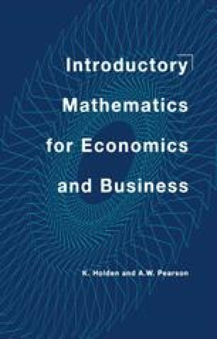Introductory Mathematics for Economics and Business