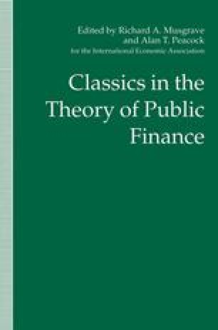 Classics in the Theory of Public Finance
