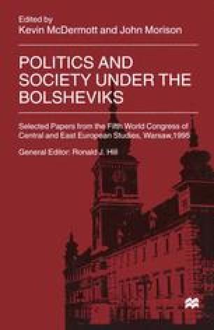 Politics and Society under the Bolsheviks