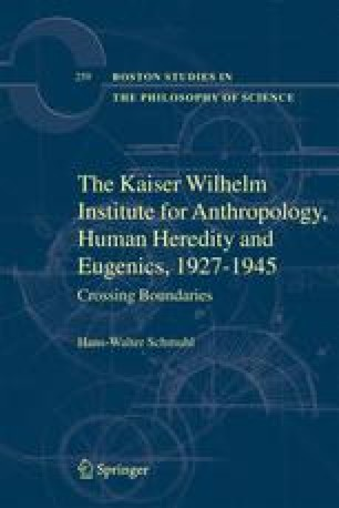 The Kaiser Wilhelm Institute for Anthropology, Human Heredity, and Eugenics, 1927–1945
