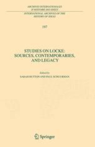 Studies on Locke: Sources, Contemporaries, and Legacy