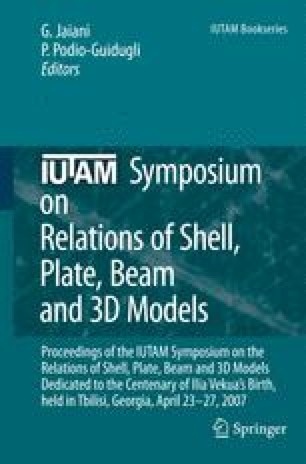 IUTAM Symposium on Relations of Shell Plate Beam and 3D Models