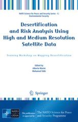 Desertification and Risk Analysis Using High and Medium Resolution Satellite Data