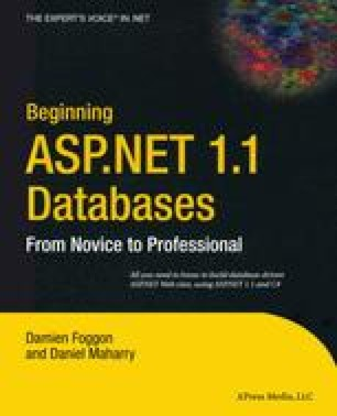 Beginning ASP.NET 1.1 Databases: From Novice to Professional