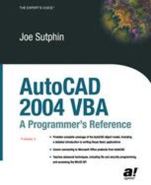 AutoCAD 2004 VBA: A Programmer's Reference