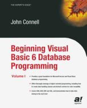 Beginning Visual Basic 6 Database Programming