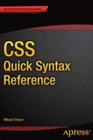 CSS Quick Syntax Reference Guide