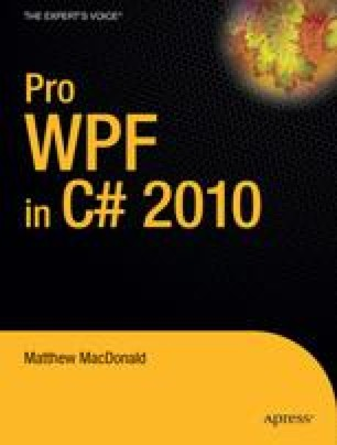 Pro WPF in C# 2010: Windows Presentation Foundation in .NET 4.0