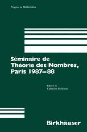 Séminaire de Théorie des Nombres, Paris 1987–88