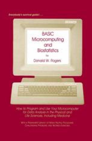BASIC Microcomputing and Biostatistics