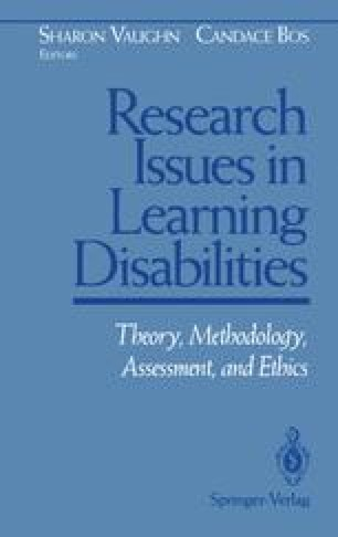 Research Issues in Learning Disabilities