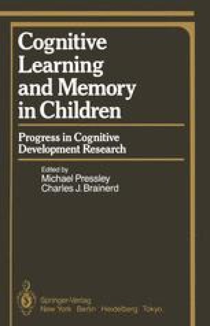 Cognitive Learning and Memory in Children