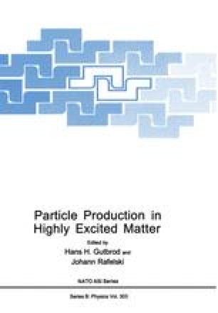 Particle Production in Highly Excited Matter