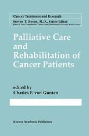 Palliative Care and Rehabilitation of Cancer Patients