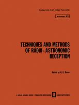 Techniques and Methods of Radio-Astronomic Reception / Tekhnika i Metody Radio-Astronomicheskogo Priema / Техника и Методы Радио-Астрономического Приема
