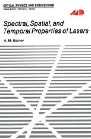 Spectral, Spatial, and Temporal Properties of Lasers