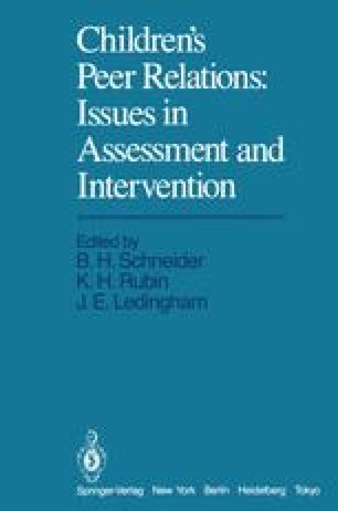 Children's Peer Relations: Issues in Assessment and Intervention