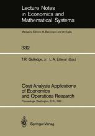 Cost Analysis Applications of Economics and Operations Research