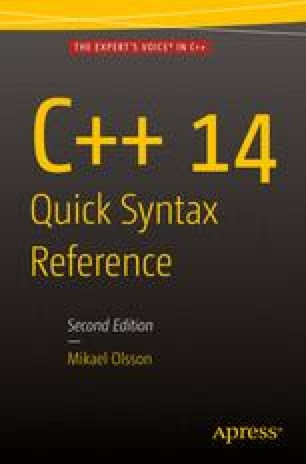 C++ 14 Quick Syntax Reference