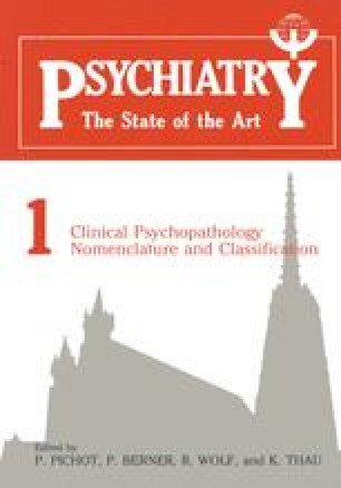 Clinical Psychopathology Nomenclature and Classification