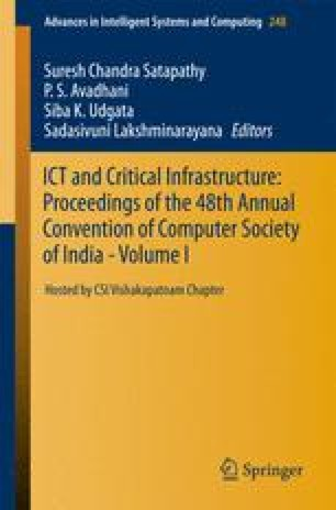 ICT and Critical Infrastructure: Proceedings of the 48th Annual Convention of Computer Society of India- Vol I