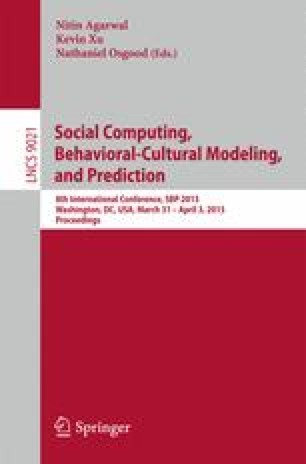 Social Computing, Behavioral-Cultural Modeling, and Prediction