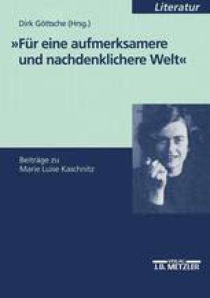 Peter Huchel Als Herausgeber Der Gedichte Von Marie Luise