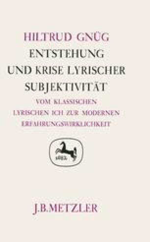 Einleitung Subjektivität In Der Lyrik Springerlink