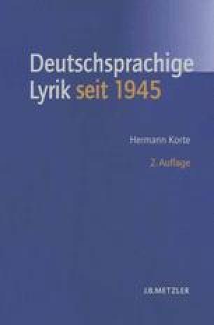 Lyrik Zwischen 1945 Und 1949 Kontinuitäten Springerlink