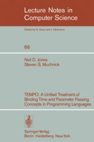 TEMPO: A Unified Treatment of Binding Time and Parameter Passing Concepts in Programming Languages