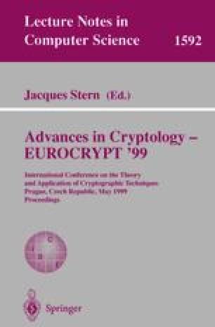 Advances in Cryptology — EUROCRYPT '99