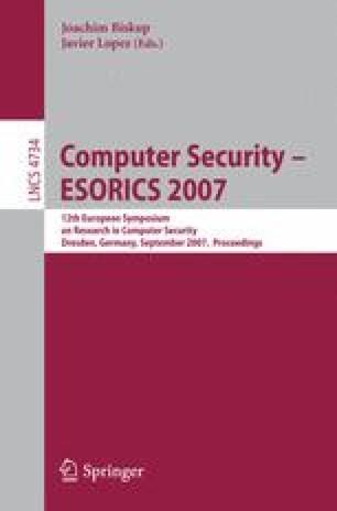 Computer Security – ESORICS 2007