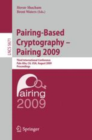 Pairing-Based Cryptography – Pairing 2009