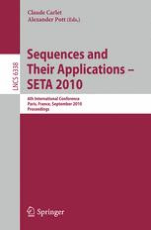 Sequences and Their Applications – SETA 2010