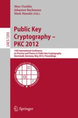 Public Key Cryptography – PKC 2012