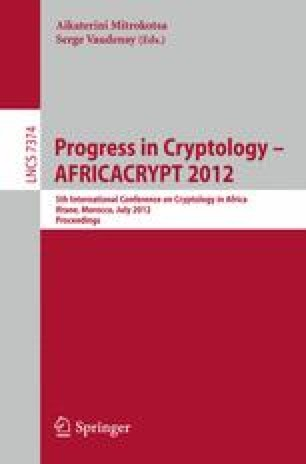 Progress in Cryptology - AFRICACRYPT 2012