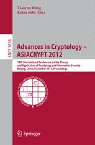 Advances in Cryptology – ASIACRYPT 2012