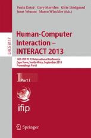 Human-Computer Interaction – INTERACT 2013