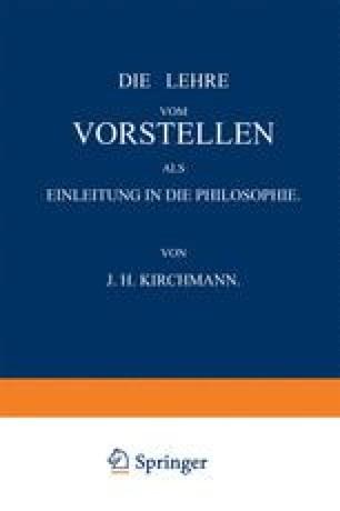 Die Lehre vom Vorstellen als Einleitung in die Philosophie
