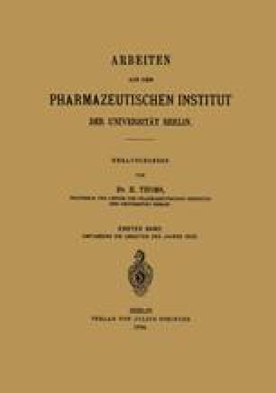 Arbeiten aus dem Pharmazeutischen Institut der Universität Berlin