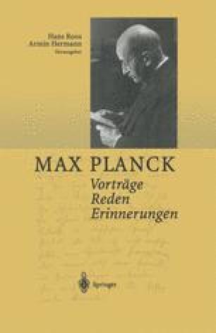 Zum 80 Geburtstag Von Max Planck 23 4 1938 Rede Und Erwiderung