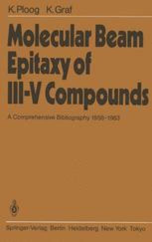 Molecular Beam Epitaxy of III–V Compounds