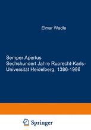 Semper Apertus Sechshundert Jahre Ruprecht-Karls-Universität Heidelberg 1386–1986